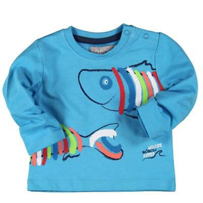 Bóboli Boy's Long Sleeve Shirt Fish turquoise blue sz. 74 - 92