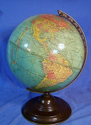 """Vintage Early 1930s 12"""" World Globe REPLOGLE Chicago Standard on Stand NICE!"""