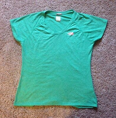 Women's THE NORTH FACE Green Short Sleeve V-Neck Tee Shirt ~ Size Large L