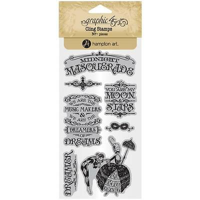 Midnight Masquerade #1 Unmounted Cling Rubber Stamp Set Graphic 45 IC0383 New