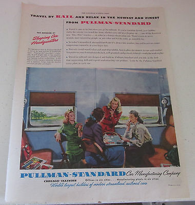1946 original ad Pullman Standard Train Cars Ladies Playing Cards in Lounge Car