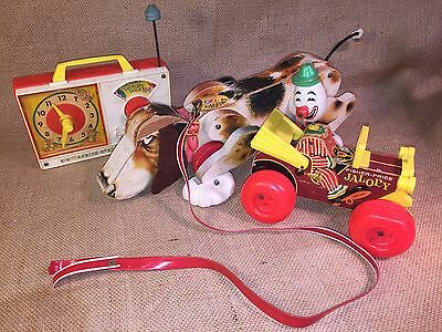 3 Vintage Fisher Price Toys 181 Snoopy Dog 724 Clown Jalopy Hickory Dickory Dock