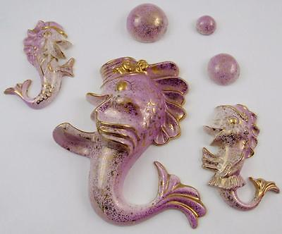 *RARE* MID-CENTURY 1950s COMPLETE CERAMIC FISH & BUBBLES WALL HANGING - PURPLE