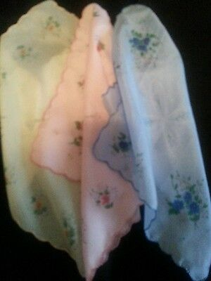 Lot of Three (3) Preowned Reproduction Vintage Looking Ladies Handkerchiefs