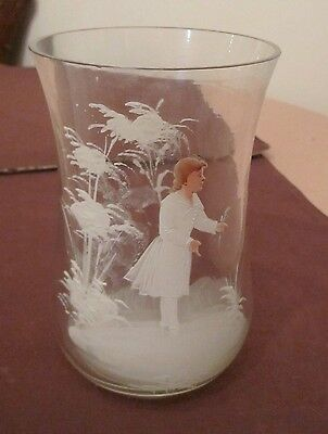 Antique bohemian clear glass hand painted enamel figural vase Mary Gregory pot