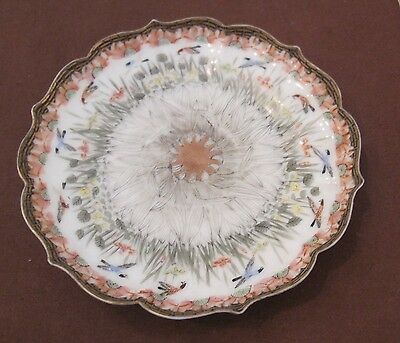 antique hand painted ornate Japanese porcelain ceramic bird dish plate charger