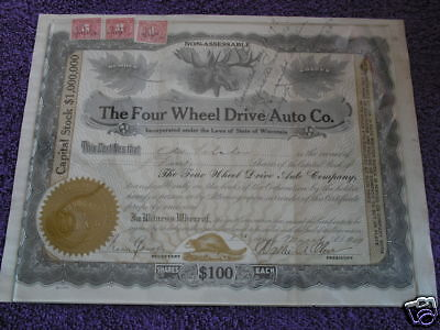 Vintage Stock Certificate Car 1917 4 Wheel Dr. Auto Co.