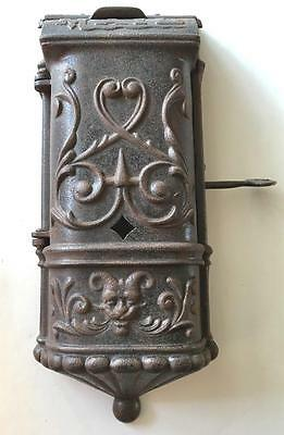 Antique Gothic Mailbox Victorian Cast Iron Medieval Authentic w/ Key Wall Pocket
