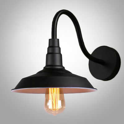 Vintage Wall Lamp - Black Matel | w/ Frosted Bulb 40W | Industrial Loft Light