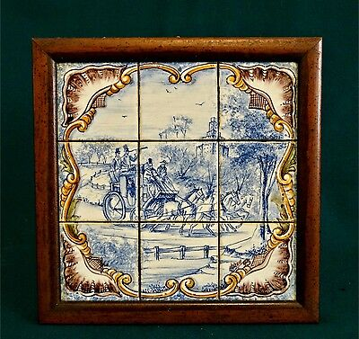 Antique Tile Scenery of 18th Century Hand Painted Signed