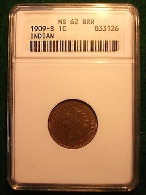 1909 S  Indian Head Cent   Ms 62