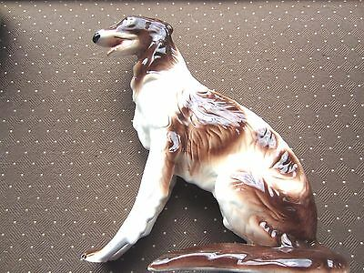 """Vintage Large Borzoe Russian Wolfhound porcelain Figurine, 12"""" tall by 10"""" long"""
