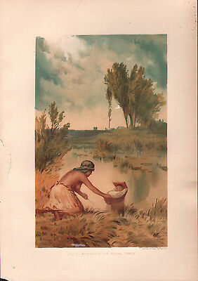 """1881 COLOR CHROMOLITH """"Burial Canoe"""" BURIAL CUSTOMS OF NATIVE AMERICAN INDIANS"""
