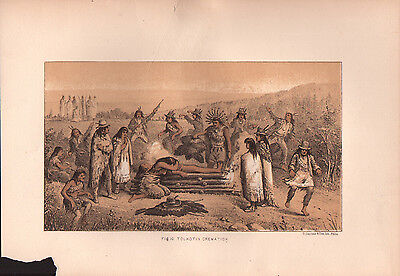 """1881 COLOR LITHOGRAPH """"Tolkotin Death"""" BURIAL CUSTOMS OF NATIVE AMERICAN INDIANS"""