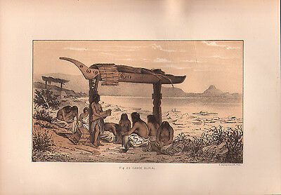 """1881 COLOR LITHOGRAPH """"Canoe Burial"""" BURIAL CUSTOMS OF NATIVE AMERICAN INDIANS"""
