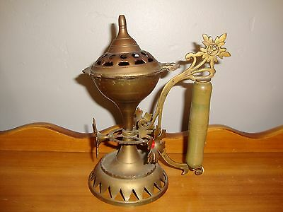 Antique Islamic Middle Eastern Brass Incense Burner,Marked, Wood Handle, Flowers