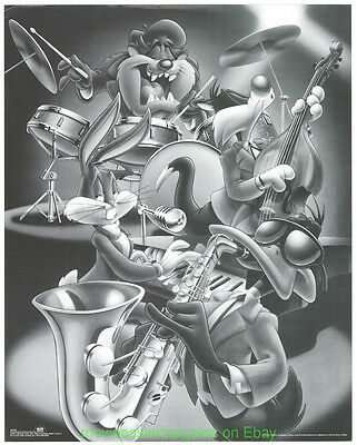 LOONEY TUNES 16x20 INCH 1990S OSP POSTER TAZ PLAYING JAZZ! DAFFY DUCK BUGS BUNNY