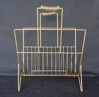 Vintage Mid Century Atomic Magazine Record Rack Stand Gold Metal