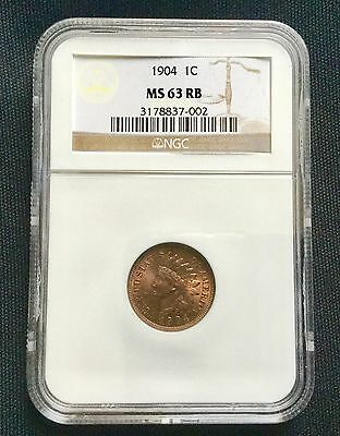 1904 1c NGC MS63 RB - Indian Cent