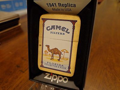 Florida Camel State Collectors Pack Brush Brass Zippo Lighter 2010