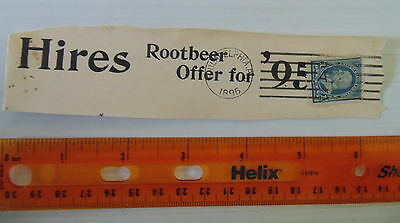 1895 Hires Root Beer Partial Cover Advertisement Postmarked RARE