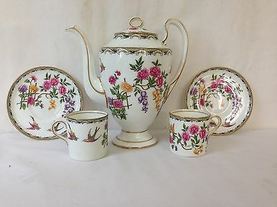 """Aynsley England """"Mikado"""" Coffee Pot and Two Demitasse with Saucers"""