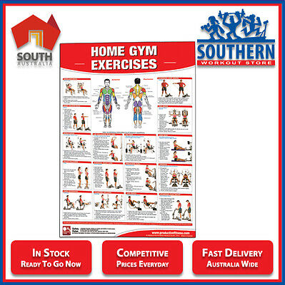 Home Gym Exercises Poster Chart Fitness Full Body Workout Training Technique
