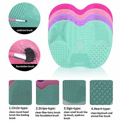 New Silicone Makeup Brush Cleaner Washing Scrubber Board Cleaning Mat Tool AU