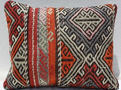 "TURKISH KILIM RUG LUMBAR PILLOW CUSHION COVER HAND WOVEN WOOL 20"" x 16"""