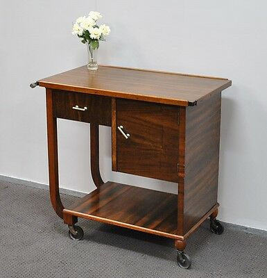 Lovely Antique * Vintage Art Deco Walnut Auto Trolley * Tea Trolley  c1930s