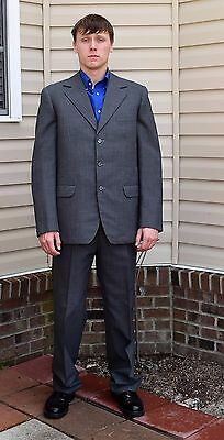 "Vintage 20's 30's Men's Gray Wool Suit Button Fly Pants 42 R 37"" W x 33"" Inseam"