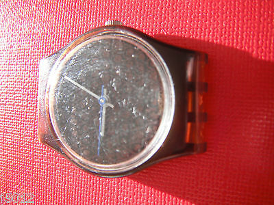 VINTAGE SWATCH WATCH WOMANS SMALL BROWN 1980's RETRO SWISS MADE SW23