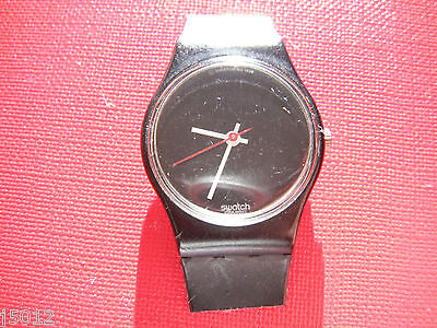 VINTAGE SWATCH WATCH WOMANS SMALL BLACK 1980's RETRO SWISS MADE SW20
