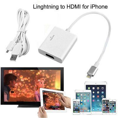 Lightning 8Pin to HDMI Cable HDTV AV Adapter For iPhone 5s 6s 7 Plus SE iPad Air