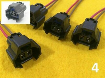 4 x Nippon Denso Fuel injector wired plugs for Nissan Toyota female connector