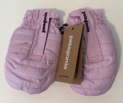 PATAGONIA Baby Puff Mitts 6-12M Winter Mitten Fleece Lined Dragon Purple NWT