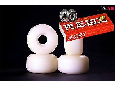 Bones Pro 50mm 100A Skate board Wheels Plain White Set 4 + Bones SUPER REDS x 8
