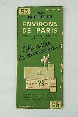 Vintage 1940s Michelin French Michelin Map of France Surroundings of Paris Nr 95