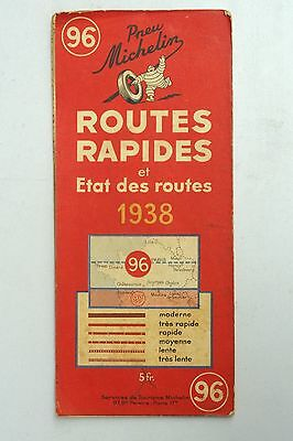 Vintage 1938 Michelin French Michelin Map of  France Paris Nr. 96