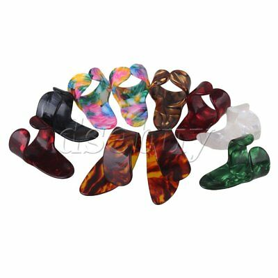 BQLZR 10 Pieces Guitar Celluloid 8 Finger Picks 2 Thumbpicks Multicolor