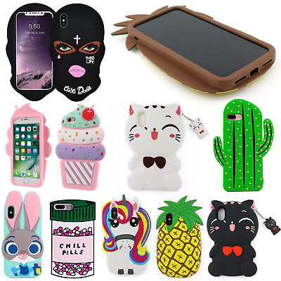Apple iPhone X 8 7 Plus 6 5s NEW 3D Cute Cartoon Soft Silicone Back Cover Case