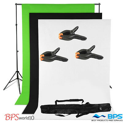 Photo Studio Black White Chroma Key Green Screen Background + Backdrop Stand Kit