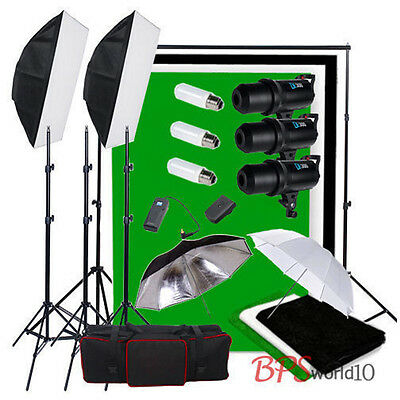 Portrait 900W Digital LED Flash Kit Cool Fan 3 Cotton Backdrop Background Stand