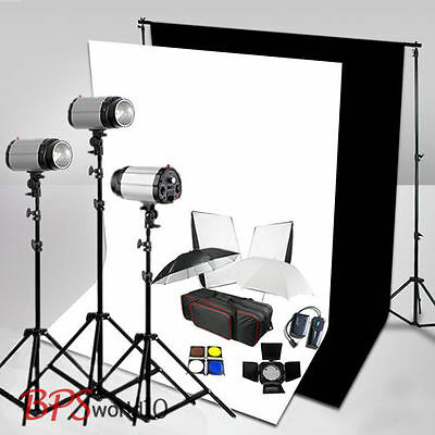 900W Flash Lighting Kit White + Black Backdrop SBackground tand Softbox UK Plug