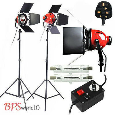Pro 2x 800W Red Head Video Continuous Lighting Kit Dimmer Heat Releasing Ring UK