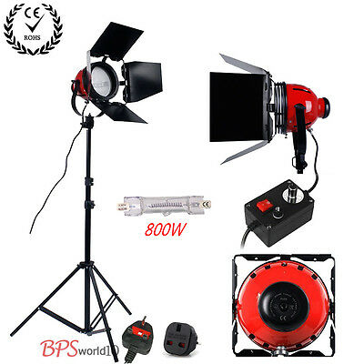 Video 800W Red Head Studio Continuous Lighting Kit Dimmer + Heat releasing ring