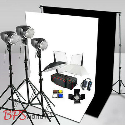 Pro 540W Flash Lighting Kit White Black Background Screen Backdrop Support Stand