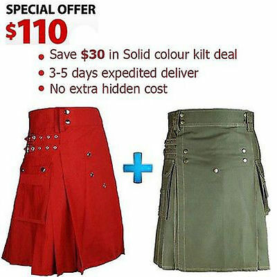 Scottish highland Hand Made 100% Cotton Utility Red and Olive green kilts deal