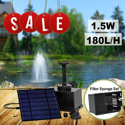 Solar Panel Power Fountain Garden Pond 180L/H Pump Kit With Filtering Sponge Set
