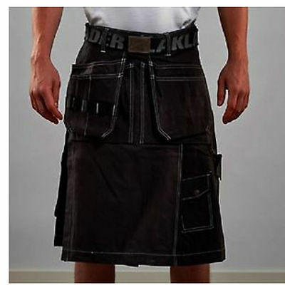 Scottish Mens Hand Made Kilts OutFits BLACK Cotton CONTRAST STITCHING CRAFTSMAN